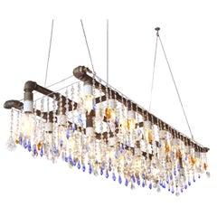 Industrial Triple Rail Chandelier