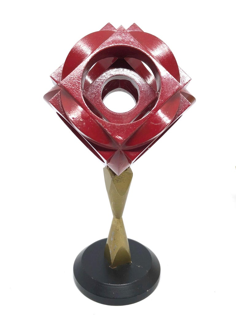Metal Industrial Turners Cube Scale Design Model Desk Sculptures, German, 1970s For Sale