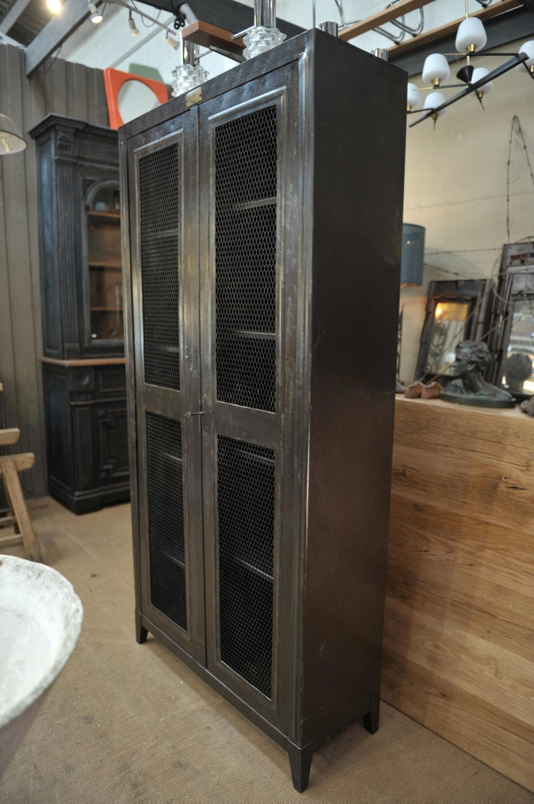 French industrial two mesh doors iron