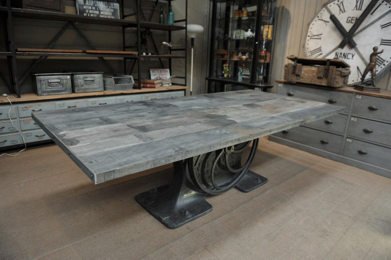 Industrial Valentin Paris, 1900 Cast Iron Base and Solid Oak Dining Table For Sale 6