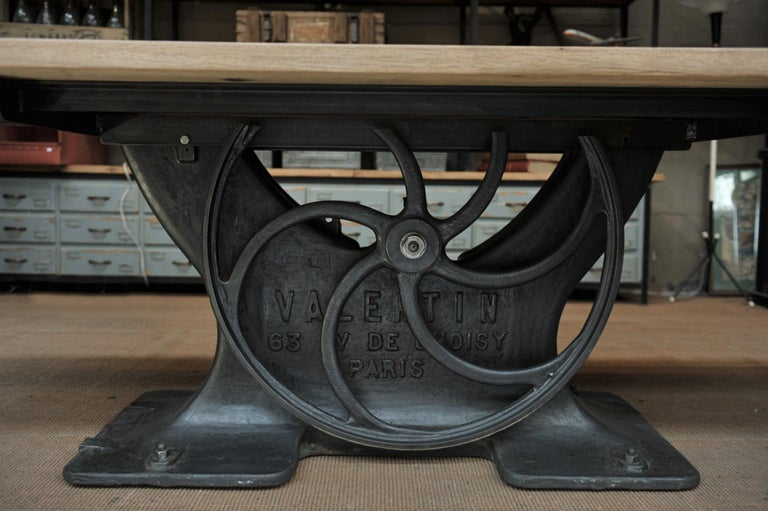 French Industrial Valentin Paris, 1900 Cast Iron Base and Solid Oak Dining Table For Sale