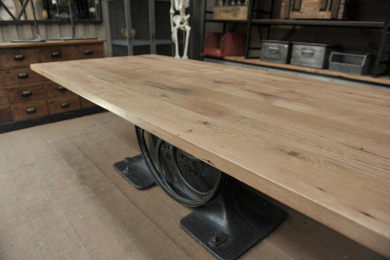 Industrial Valentin Paris, 1900 Cast Iron Base and Solid Oak Dining Table For Sale 2
