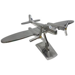 Industrial Vintage Metal Aircraft Plane Model Desk Item Statue, circa 1980s