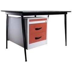 Industrial Vintage Metal Desk 1950s Prouve Style V-Shape Legs