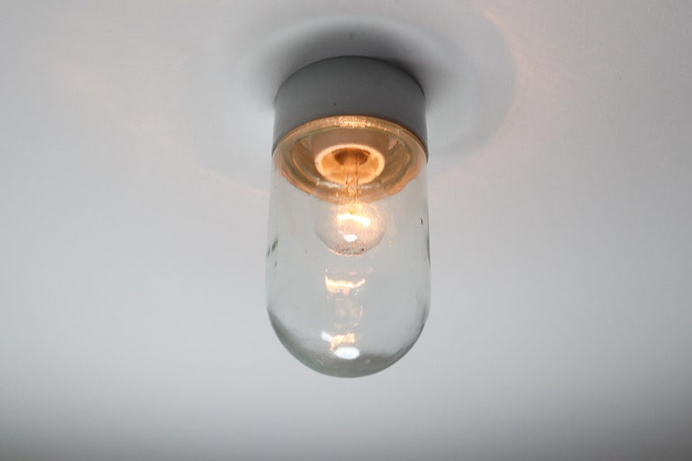 French Industrial Vintage Wall/Ceiling Lights with Clear Glass and Porcelain Base 1960s For Sale