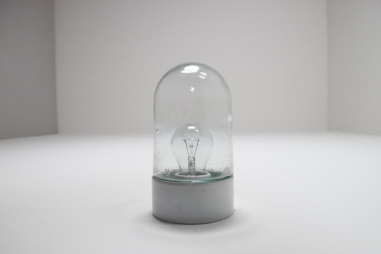 Industrial Vintage Wall/Ceiling Lights with Clear Glass and Porcelain Base 1960s For Sale 1