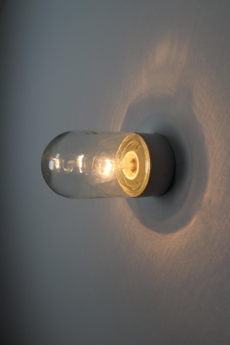 Industrial Vintage Wall/Ceiling Lights with Clear Glass and Porcelain Base 1960s For Sale 4