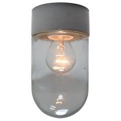Industrial Vintage Wall/Ceiling Lights with Clear Glass and Porcelain Base 1960s