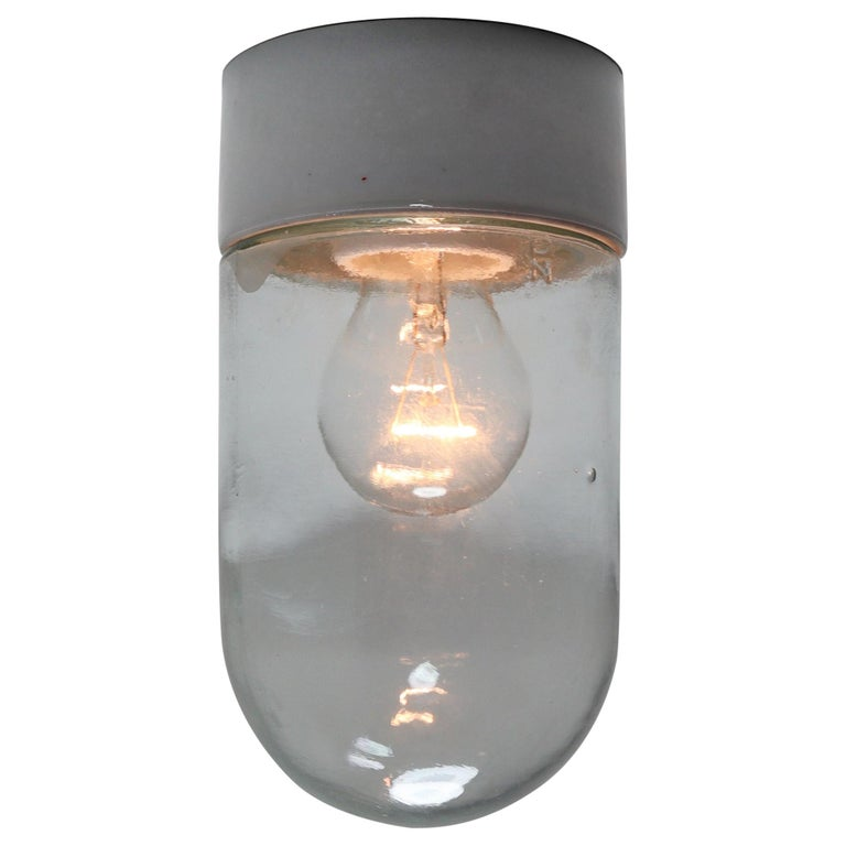 Industrial Vintage Wall/Ceiling Lights with Clear Glass and Porcelain Base 1960s For Sale