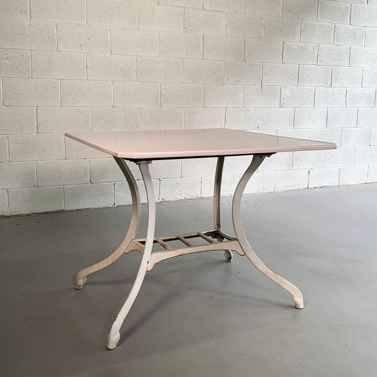 American Industrial Vitrolite and Enameled Cast Iron Table For Sale