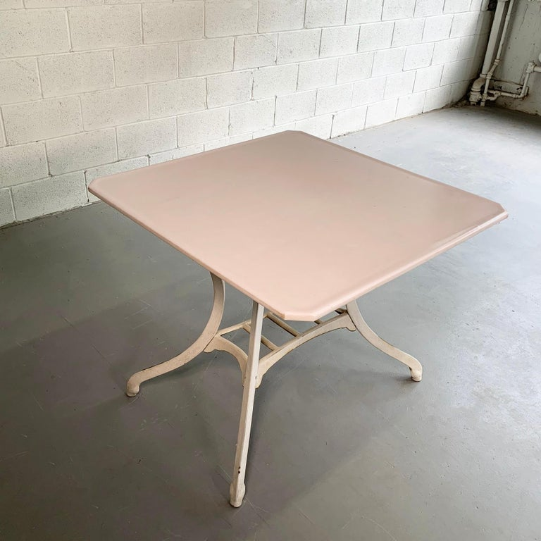 Industrial Vitrolite and Enameled Cast Iron Table In Good Condition For Sale In Brooklyn, NY