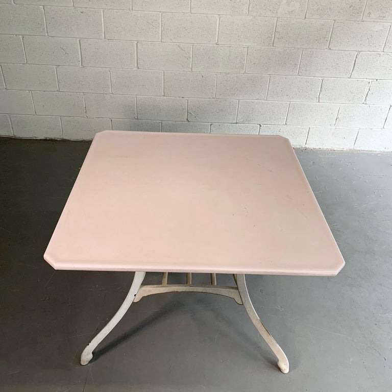 Industrial Vitrolite and Enameled Cast Iron Table For Sale 3