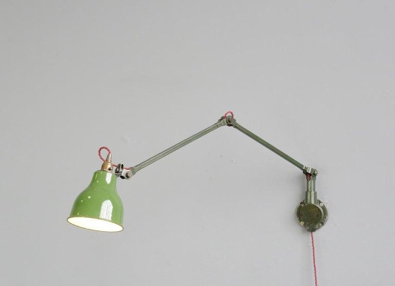 Steel Industrial Wall Lamps by Mek Elek, circa 1930s For Sale