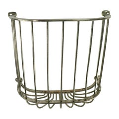 Industrial Wall Mount Nickel-Plated Towel Basket Attributed to Brasscrafter