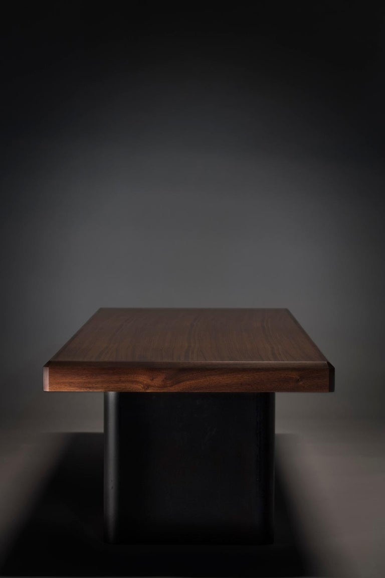 Post-Modern Industrial Walnut and Blackened Steel Table For Sale