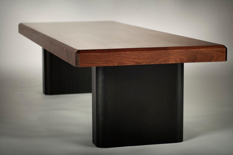 American Industrial Walnut and Blackened Steel Table For Sale
