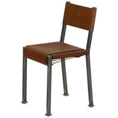 Industrial Welded Steel and Leather Accent Side Chair