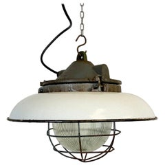 Industrial White Enamel Factory Pendant Lamp in Cast Iron, 1950s