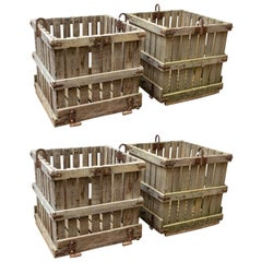 Industrial Wood and Iron Crates Four Available
