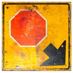 Industrial Wooden Stop Sign, 20th Century