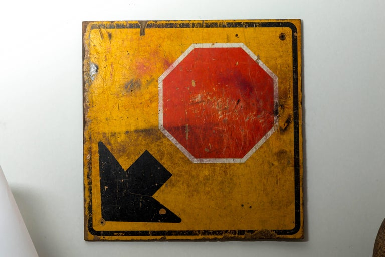 American Industrial Wooden Stop Sign For Sale