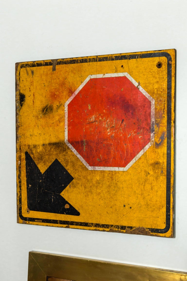 Industrial Wooden Stop Sign In Good Condition For Sale In East Hampton, NY