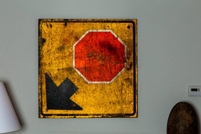 20th Century Industrial Wooden Stop Sign For Sale