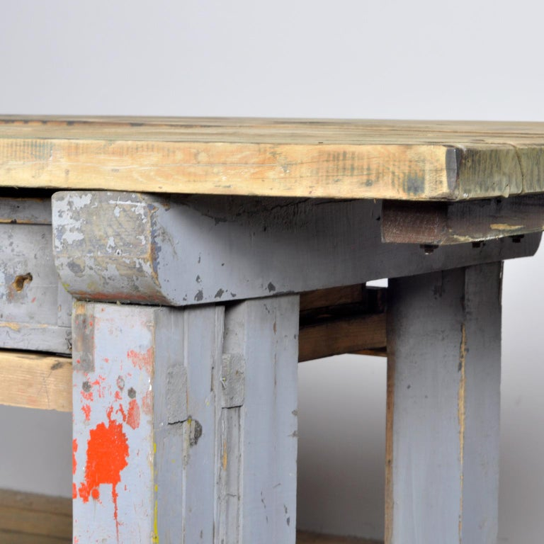 Industrial Wooden Worktable, 1950s For Sale 4