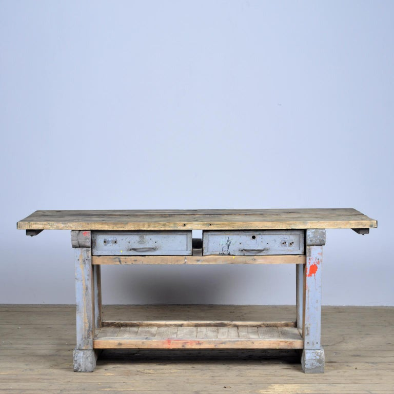 Industrial hardwood worktable from the 1950s. With two drawers. The table is restored and ready to use!