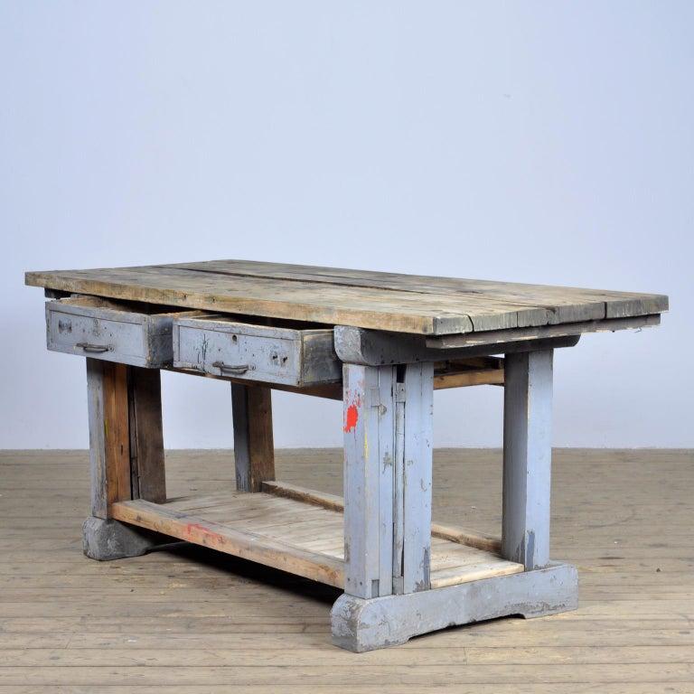 German Industrial Wooden Worktable, 1950s For Sale