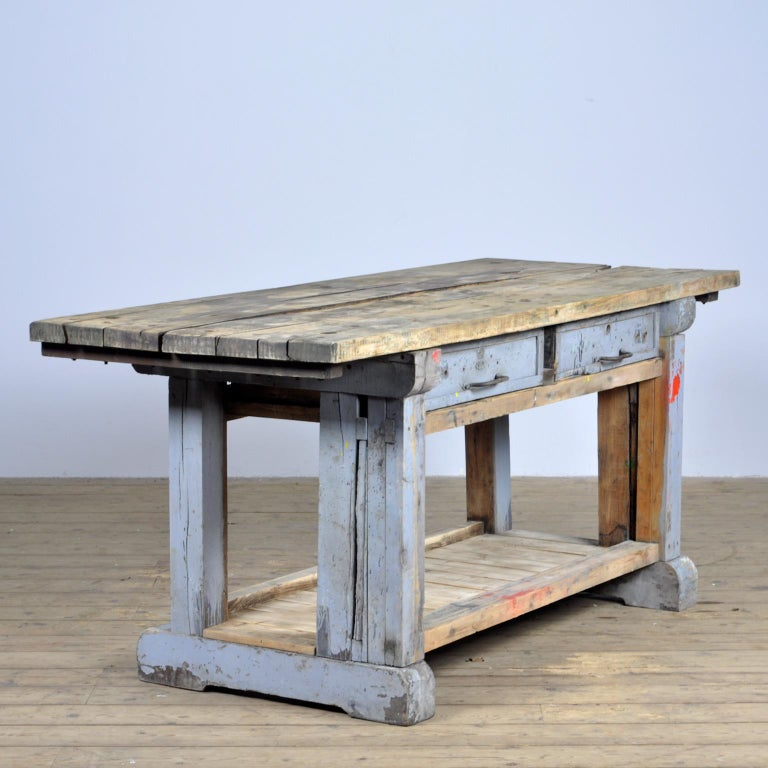 Industrial Wooden Worktable, 1950s In Good Condition For Sale In Amsterdam, Noord Holland