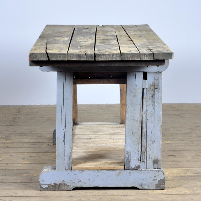 Mid-20th Century Industrial Wooden Worktable, 1950s For Sale