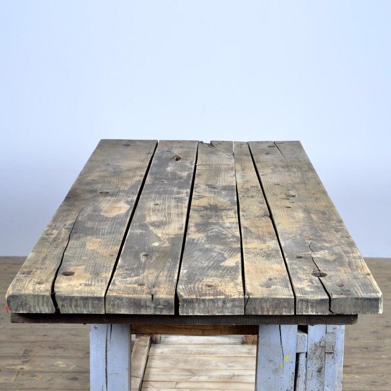 Hardwood Industrial Wooden Worktable, 1950s For Sale