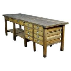 Industrial Wooden Worktable, 1950s