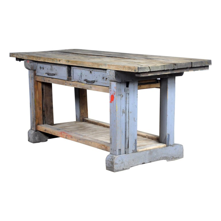 Industrial Wooden Worktable, 1950s For Sale