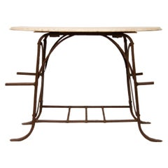 Industrial Work Stand with Marble Top