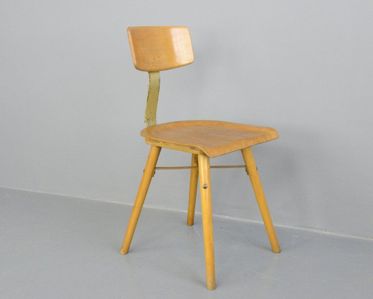Beech Industrial Work Stool By Ama, circa 1930s For Sale