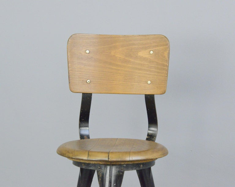 German Industrial Work Stools by Ama, circa 1930s For Sale