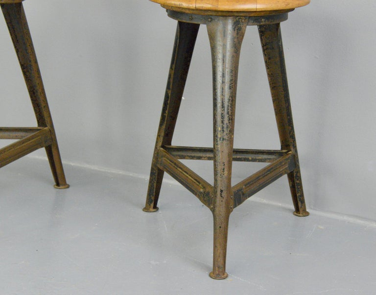 Industrial Work Stools by Ama, circa 1930s In Good Condition For Sale In Gloucester, GB