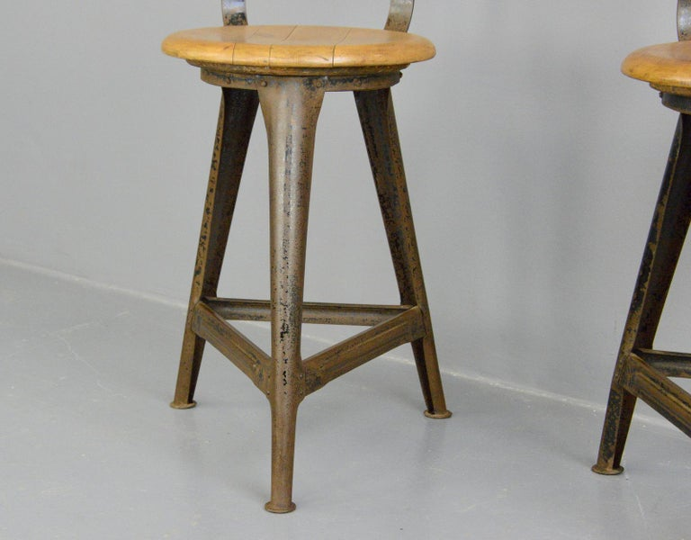Mid-20th Century Industrial Work Stools by Ama, circa 1930s For Sale