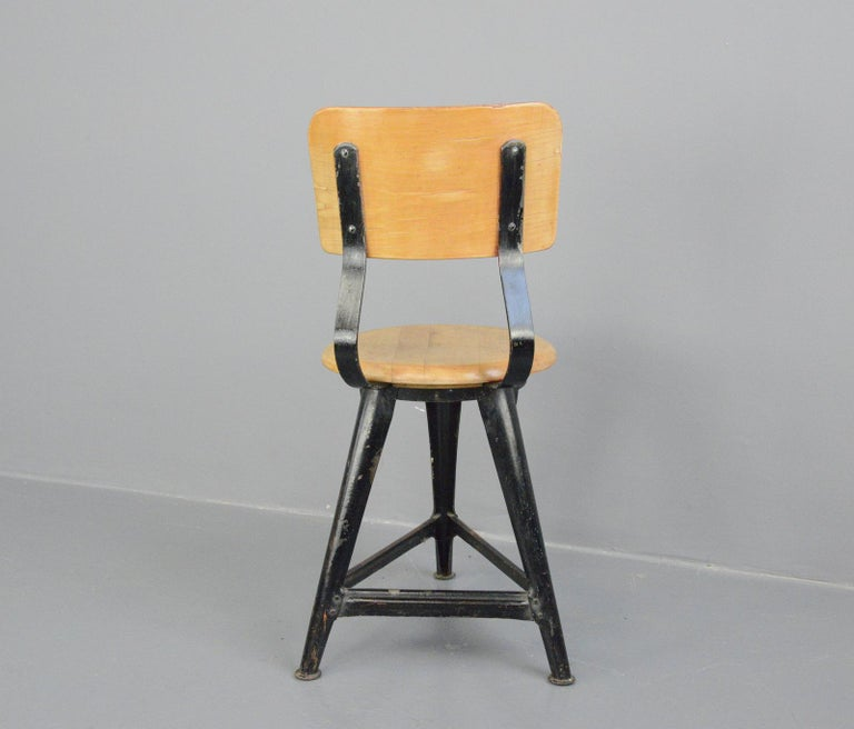 Steel Industrial Work Stools by Ama, circa 1930s For Sale