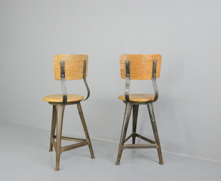 Industrial Work Stools by Ama, circa 1930s For Sale 1