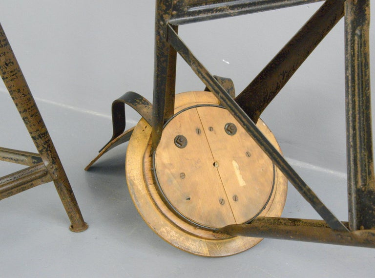 Industrial Work Stools by Ama, circa 1930s For Sale 2