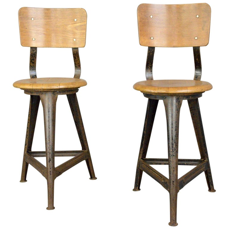 Industrial Work Stools by Ama, circa 1930s For Sale