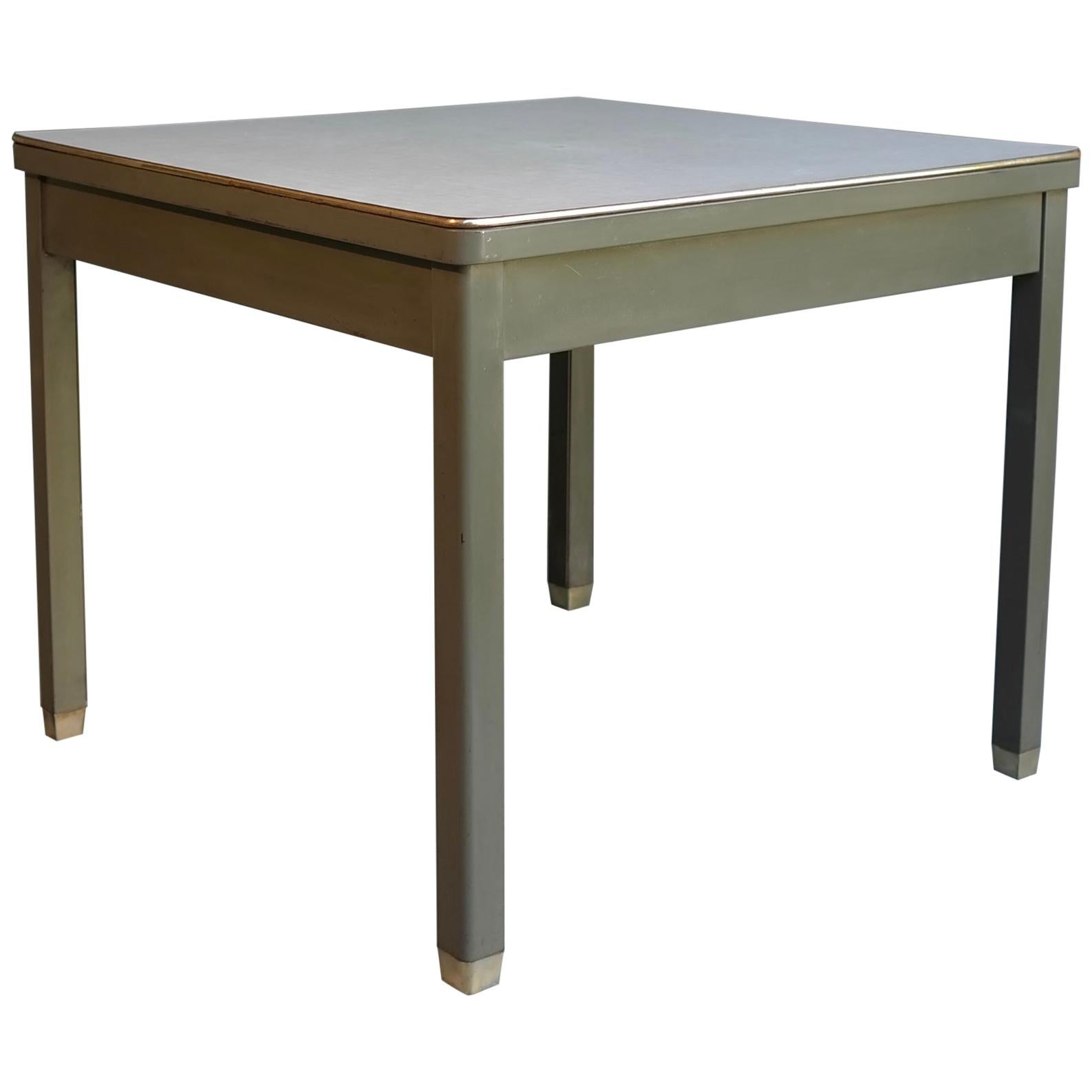 4x Industrial Work Table in Green Metal with Brass Feet and Rim, Belgium, 1950s