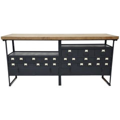 Industrial Work Table/Island with Drawers and Maple Wood Butcher Block Top