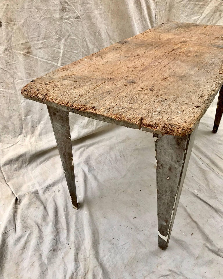 American Industrial Workbench / Studio Table with 19th Century Pine Top For Sale