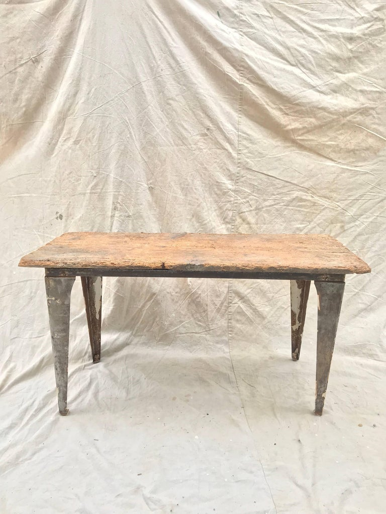 Industrial Workbench / Studio Table with 19th Century Pine Top In Good Condition For Sale In Charlottesville, VA