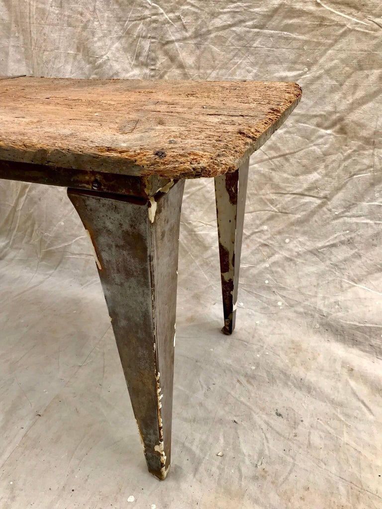 20th Century Industrial Workbench / Studio Table with 19th Century Pine Top For Sale