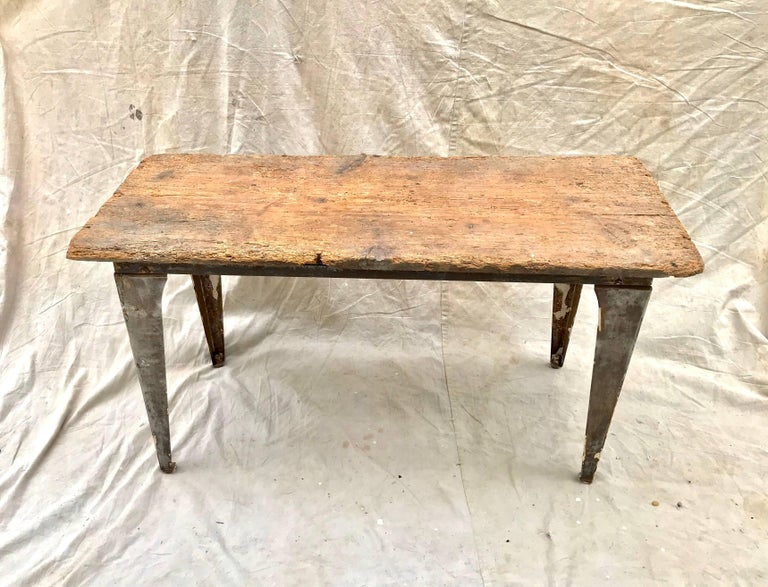 Steel Industrial Workbench / Studio Table with 19th Century Pine Top For Sale